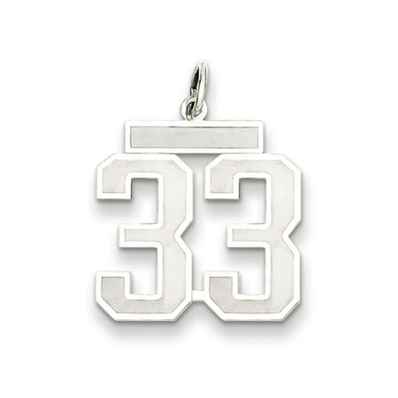- Sterling Silver, Jersey Collection, Medium Number 33 Pendant