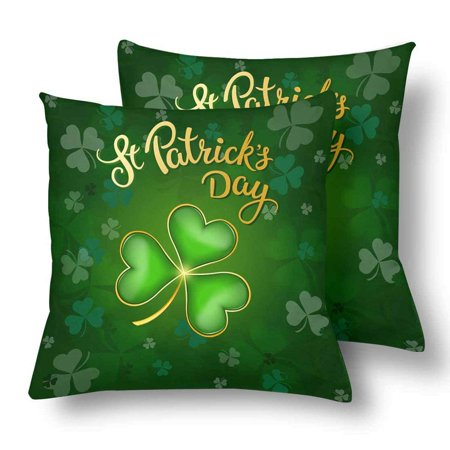 GCKG 2 Pack St. Patrick's Day with Lucky Shamrock Throw Cushion Pillow Case Covers 18x18 inches,Green Luck Clover Pillowcase Sets - image 3 of 3
