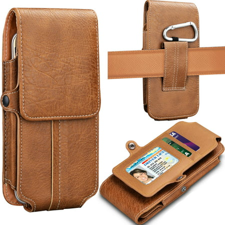 Tekcoo Phone Holster for Galaxy J7 V 2nd / J7 2018 / J7 Aero / J7 Top / J7 Crown / J7 Aura / J7 Refine / J7 Eon / J7 Star Premium Leather Belt Clip Pouch Wallet Case w/Card Holder Slots & Keychain