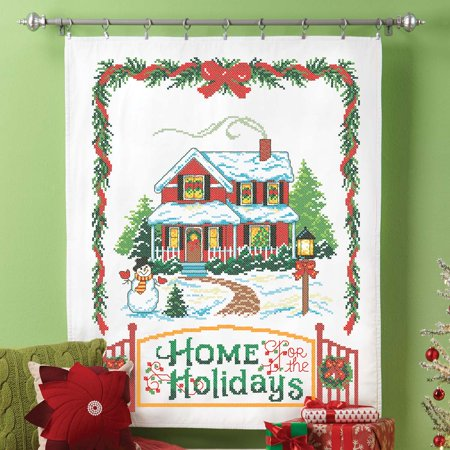 Herrschners? Home For The Holidays Lap Quilt Top Stamped Cross-Stitch