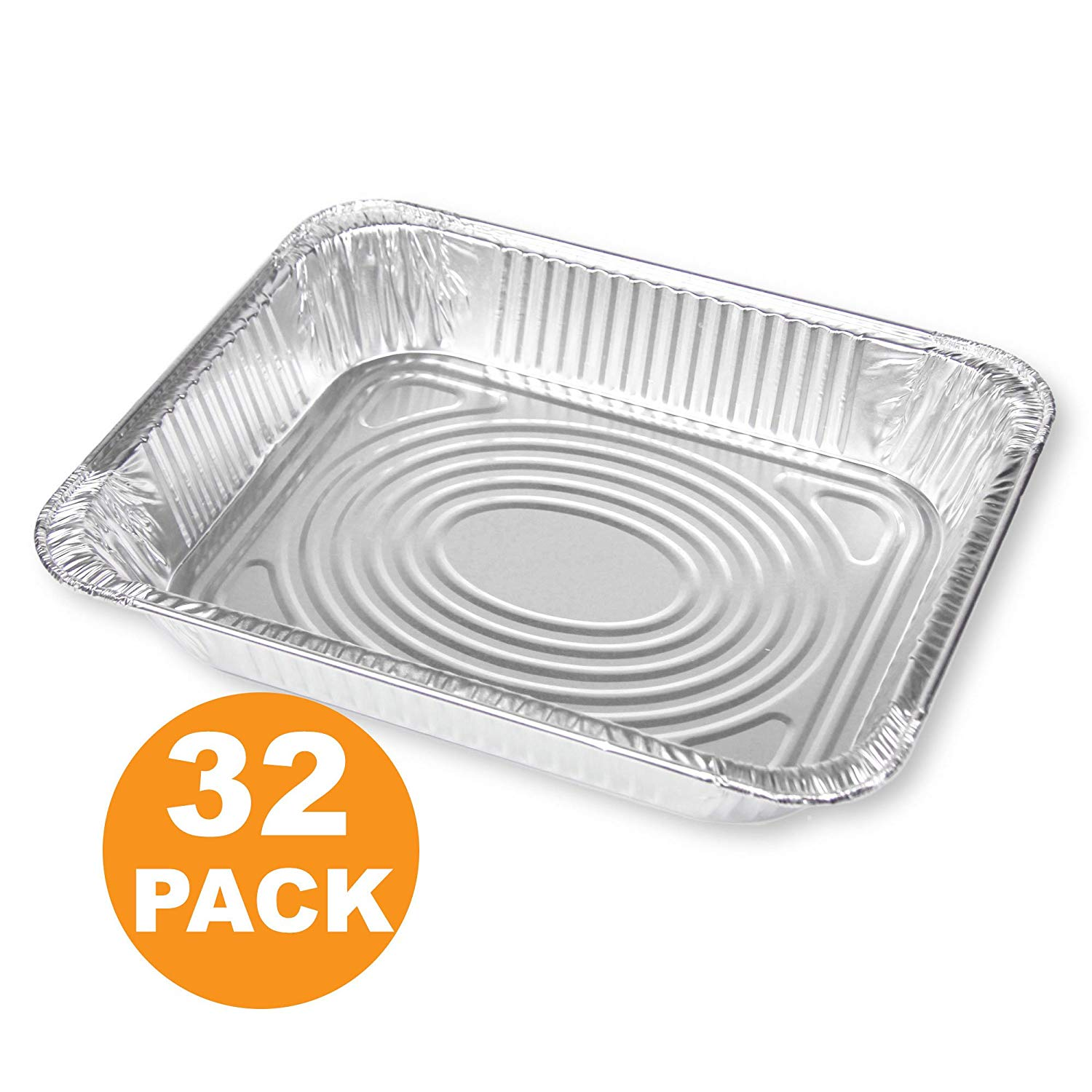 Large Deep Half Size 13 x 10 Rectangular Disposable Aluminum Foil Steam Table Baking Roast Pans [32 Pack]