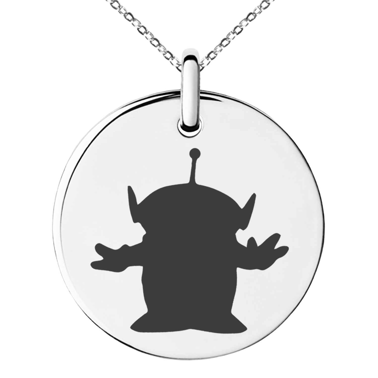 Stainless Steel Disney Toy Story Alien Engraved Small Medallion Circle Charm Pendant Necklace