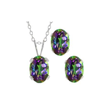 2.05 Ct Oval Green Mystic Topaz Gemstone Sterling Silver Pendant Earrings Set
