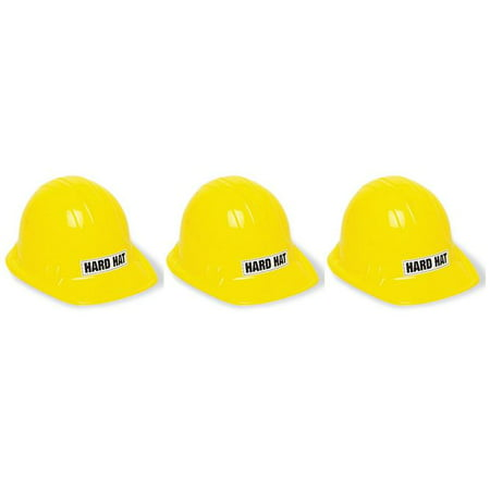 George Yellow Hat ((3 Pack) Kids Construction Party Hat, Yellow,)