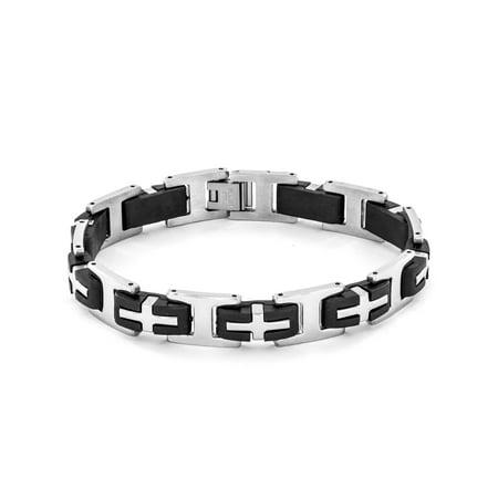 Men's Stainless Steel and Rubber Cross Link - Rubber Link Bracelet