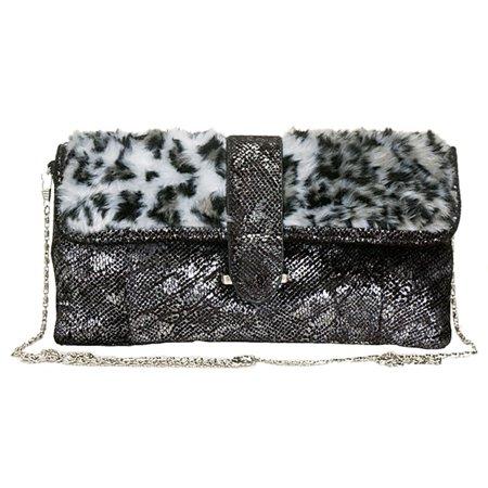 Aryana Rose Black Fabric Faux Fur Clutch Womens Purse