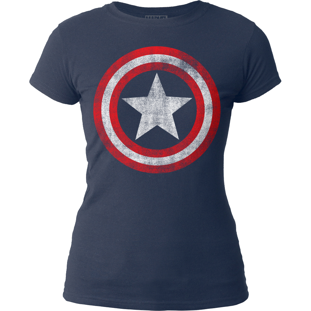 Captain America Marvel Comics Distressed Shield Juniors Crewneck T-Shirt Tee