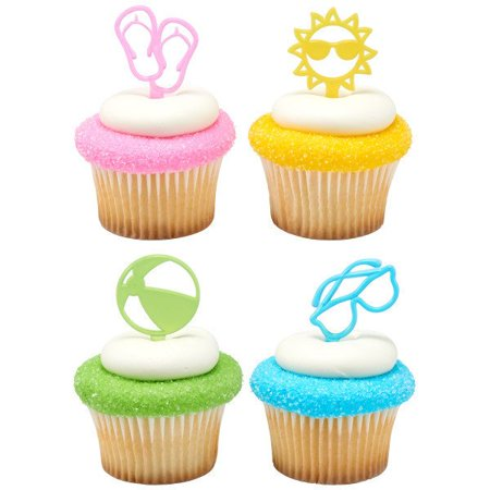 Summer Fun - Flip Flops, Beach Ball, Sun, and Sunglasses Cupcake Picks - 24 count - 23750 - National Cake Supply - Summer Cupcakes
