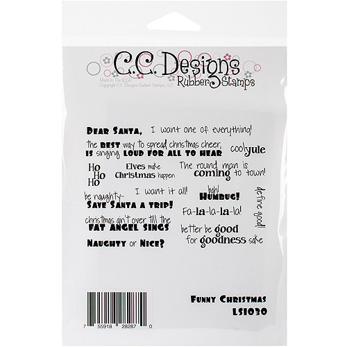 """Logo Sentiments Cling Stamps 5"""" x 3.5"""", Funny Christmas Sayings"""