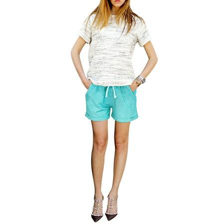 Women Summer Drawstring Elastic Waist Casual Ladies Loose Beach Holiday Shorts Plain Short Mini Hot Pants Plus Size Lake Green 5XL