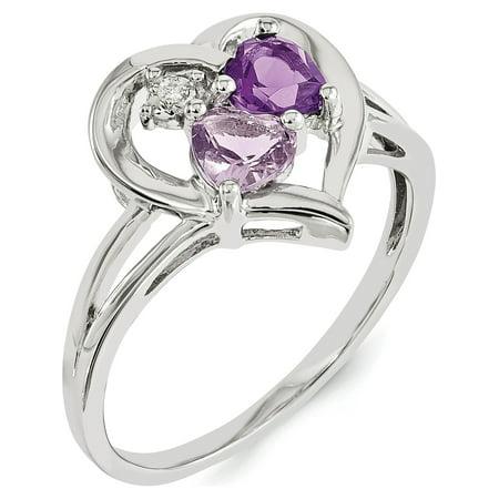 Sterling Silver Rhodium-plated Amethyst & Pink Quartz & Diamond Ring - image 1 of 3