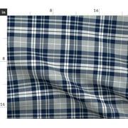 Plaid Tartan Modern Decor Apparel Navy Gray Fabric Printed by Spoonflower BTY