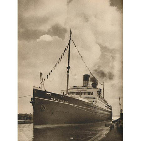 Cunard White Star Line ('One of the Largest Ships afloat, the Majestic owned by the Cunard White Star Line', 1936 Print Wall Art)