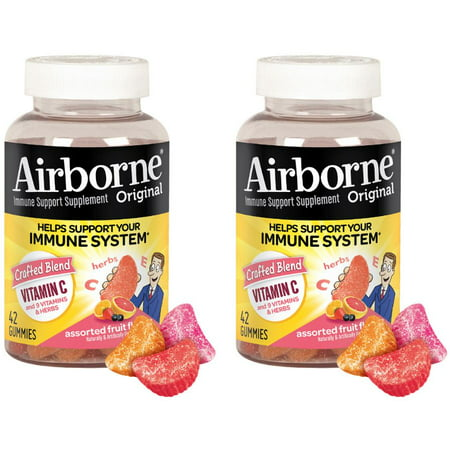 - (2 Pack) Airborne Gummies Vitamin C Supplement, Assorted Fruit, 1000mg - 42 Gummies