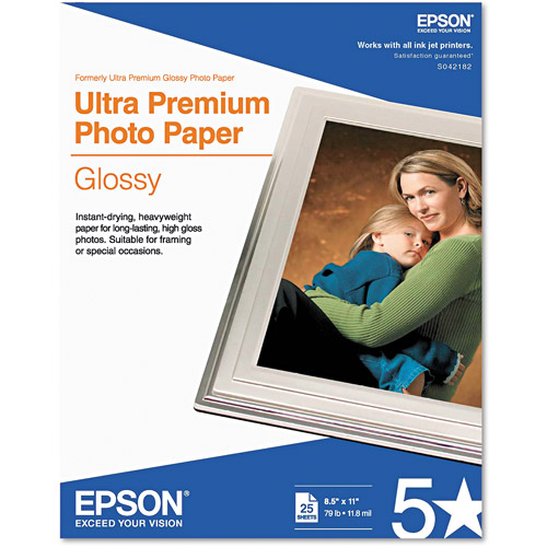 "Epson Ultra-Premium Glossy Photo Paper, 79 lbs, 8-1/2"" x 11"", 25 Sheets/Pack"
