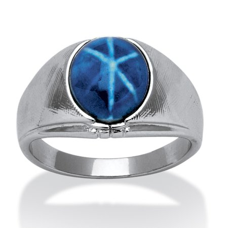 Men's Oval Simulated Blue Star Sapphire Ring in Silvertone Sizes (8 Oval Mens Ring Setting)