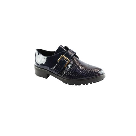 - Liyu Adult Blue Snake Skin Pattern Buckle Strap Oxford Shoes