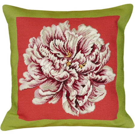 123 Creations Floral Peony Needlepoint Wool Throw Pillow