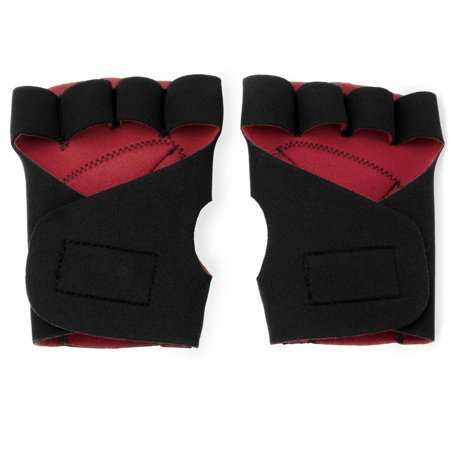 Half Finger Padded Cycling Gloves, Red ()