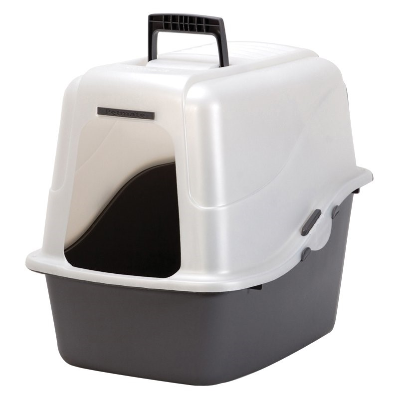 Petmate Deluxe Covered Cat Litter Box Set With Microban, Jumbo