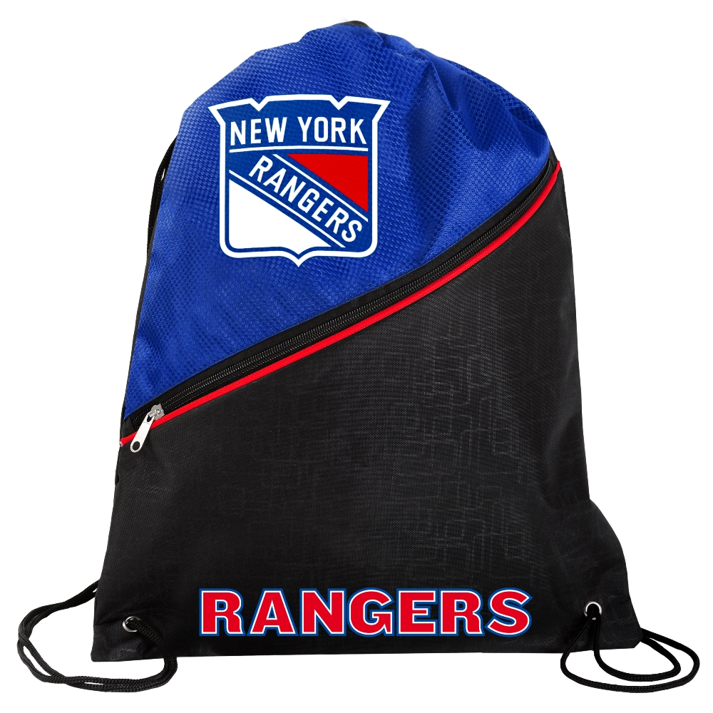 New York Rangers NCAA High End Diagonal Zipper Drawstring Backpack