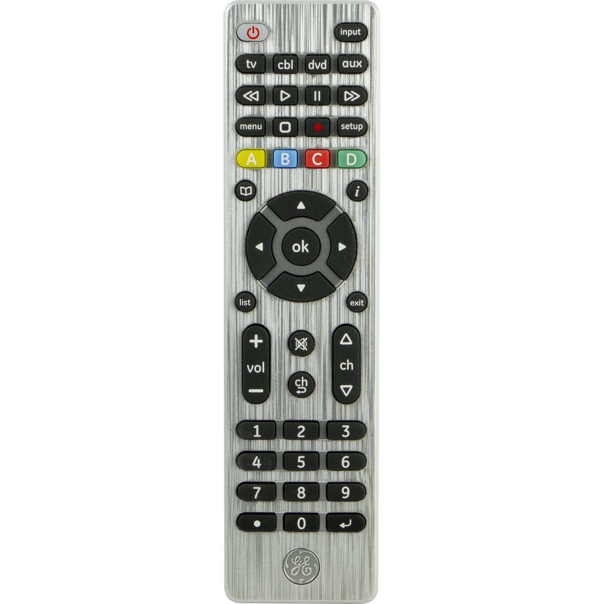 GE Universal Remote, 4 Devices, Brushed Silver