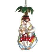 Santa Under a Palm Tree Christmas Holiday Ornament