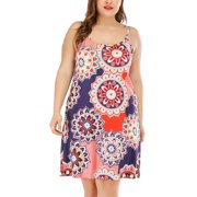 Women's Plus Size Boho Summer Dresses Floral Print Sleeveless Spaghetti Strap Mini Dress Casual Loose Holiday Beach Sundress