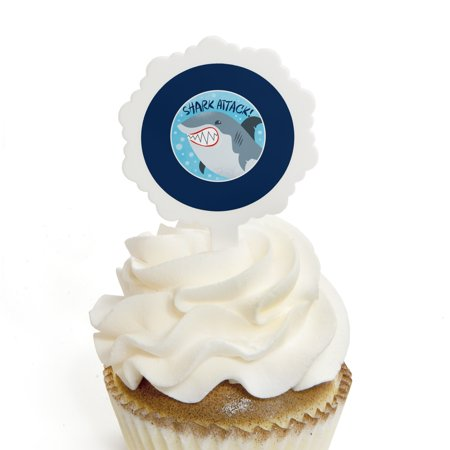 Shark Zone - Cupcake Picks with Stickers - Jawsome Shark Party or Birthday Party Cupcake Toppers - 12 Count