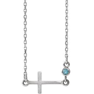 """Sterling Silver Aquamarine Sideways Accented Cross 16-18"""" Necklace by"""