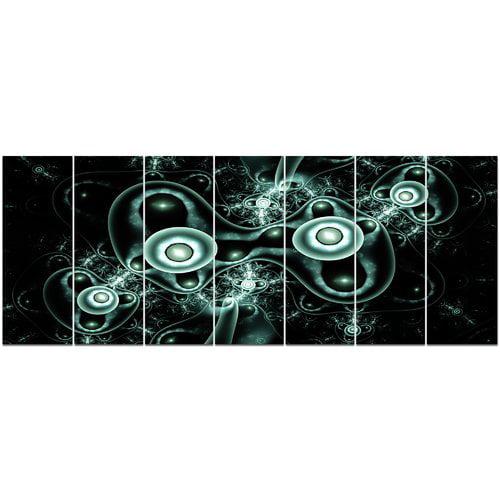 Design Art 'Blue on Black 3D Surreal Design' Graphic Art Print Multi-Piece Image on Canvas