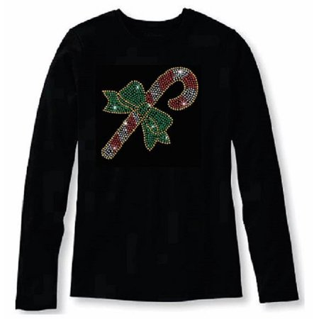 2e745ffbf4 Bling Christmas Candy Cane Women's t shirt XMA-341-LR - M