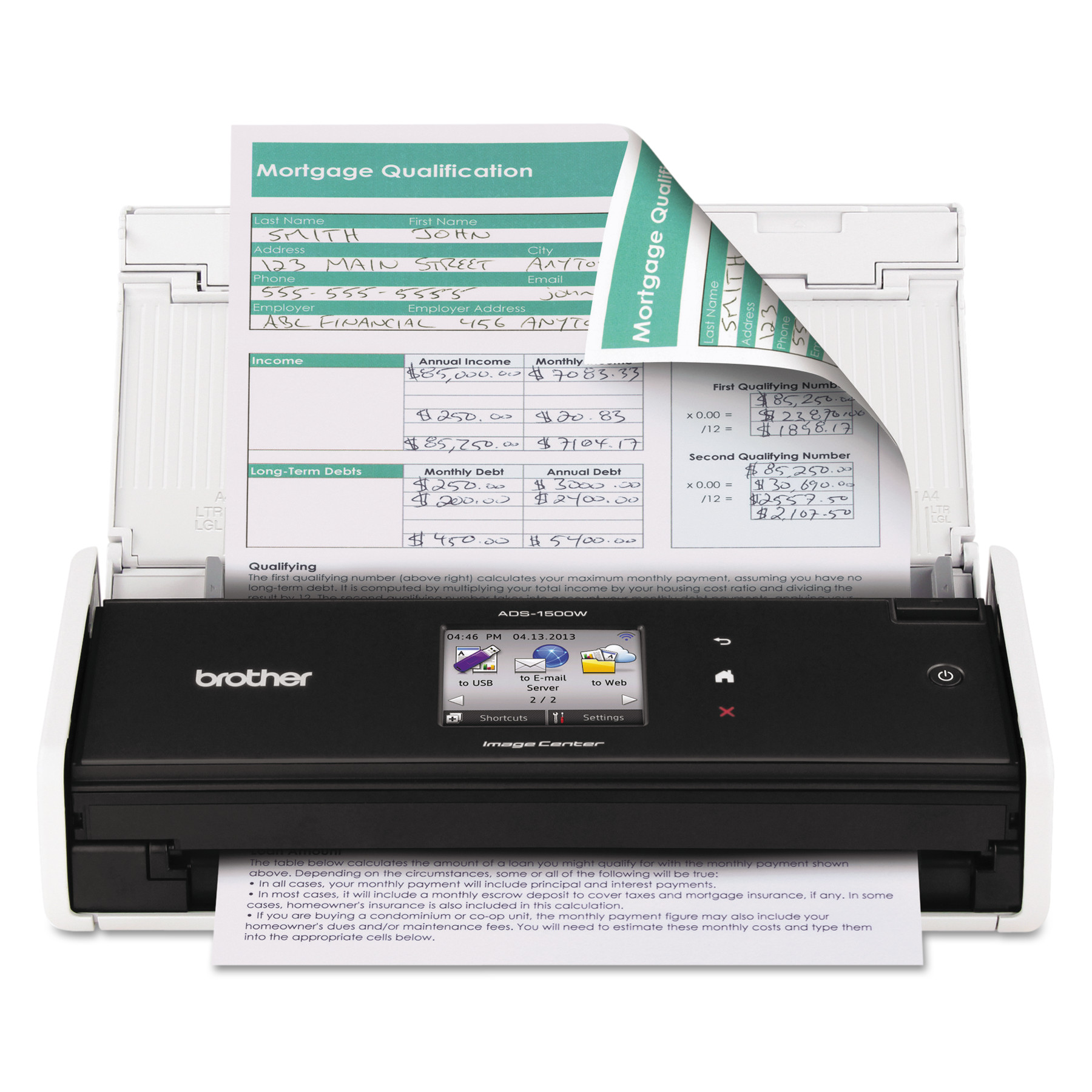 Brother ImageCenter ADS-1500W Wireless Compact Scanner, 600 x 600 dpi, 20 Sheet ADF