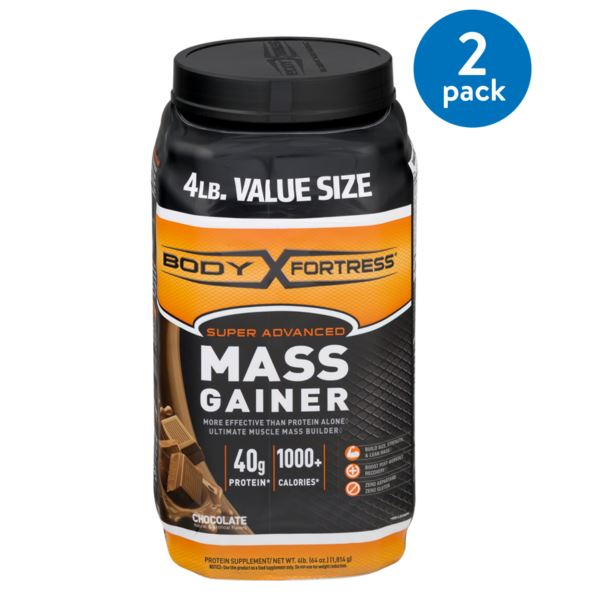 (2 Pack) Body Fortress Super Advanced Mass Gainer Protein Powder, Chocolate, 40g Protein, 4 Lb