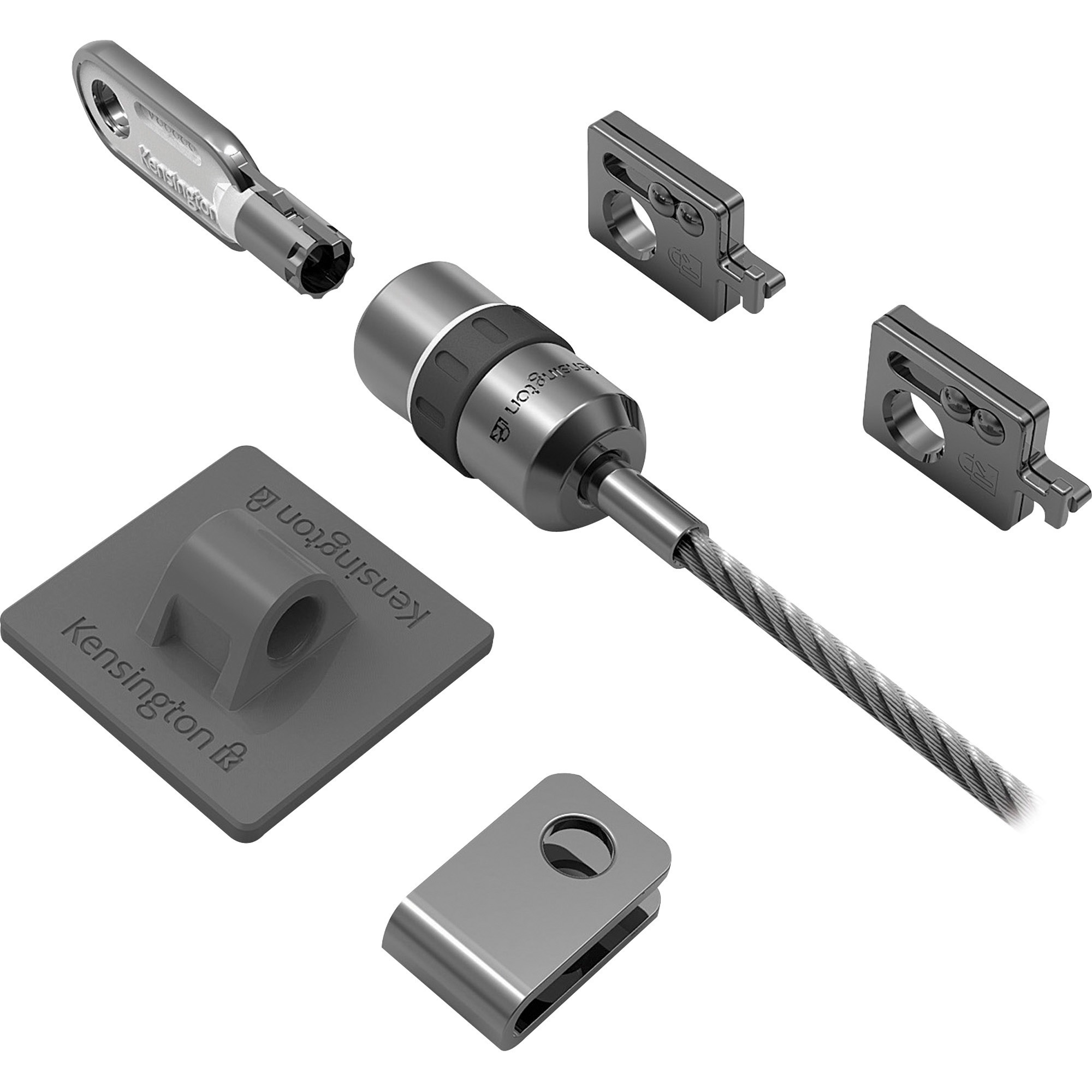 Kensington, KMW64615, Desktop/Peripherals Locking Kit, 1, Silver