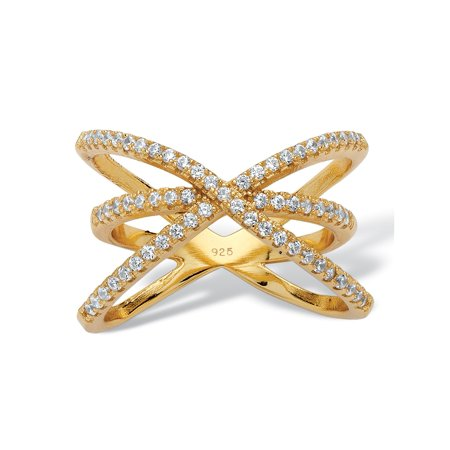 .57 TCW Micro-Pave Cubic Zirconia Open Loop Crossover Ring in 14k Yellow Gold over Sterling - Sterling Silver Crossover Ring