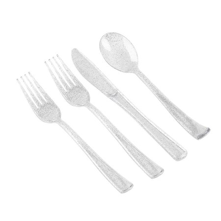 Ktaxon 200 Pcs Silver Plastic Disposable Silverware Include 100 Forks 50 Knives 50 Spoons - Plastic Silver Silverware