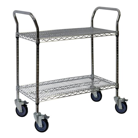 Storage Max Chrome Wire Shelving Cart, 24 x 36, 2 Shelves