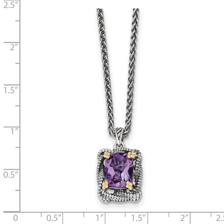 Sterling Silver Two Tone Silver And Gold Plated Sterling Silver w/Amethyst Necklace - image 1 de 2