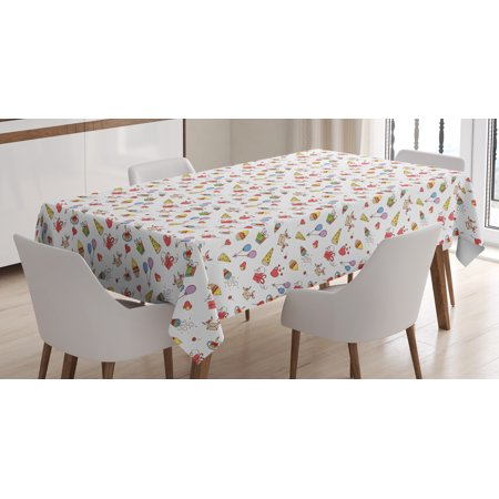 Hand Drawn Hearts (Birthday Tablecloth, Hand Drawn Style Elements of Surprise Celebration Party Cupcakes Hearts and Hats, Rectangular Table Cover for Dining Room Kitchen, 60 X 90 Inches, Multicolor, by)