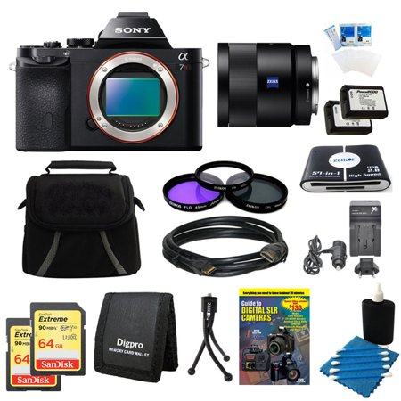 Sony Alpha a7R Digital Camera, 55mm f1.8 Full Frame Lens, 2 64GB SDXC Cards, 2 Batteries Bundle - Includes 55mm Lens, 2 64GB SDXC Memory Cards, 2 NP-FW50 Camera Batteries, 49mm Filter Kit, and More