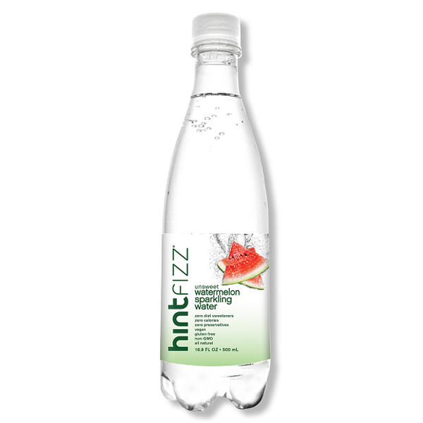 Hint Fizz Sparkling Watermelon Essence Water 16 oz Plastic Bottles Pack of 12 by Hint