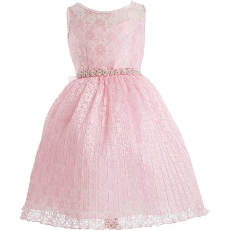 Little Girl Sweetheart Illusion Neckline Lace Overlay Pleated Rhinestones Flower Girl Dress Pink 2 JK3625