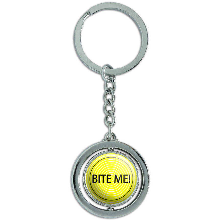 Bite Me! I Don't Care Spinning Round Metal Key Chain Keychain Ring