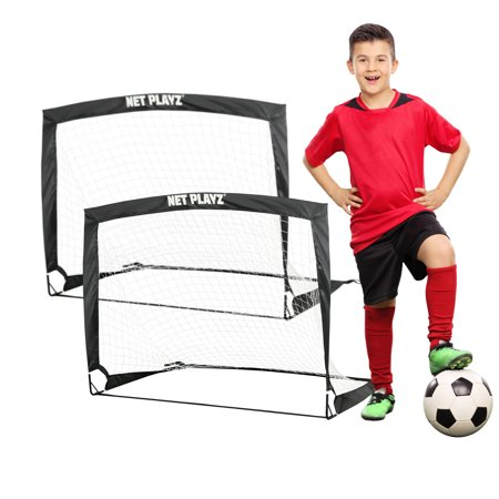 Soccer Ball Net - Net Playz 4'x3' Foldable Training Soccer Pop-Up Goals (Pair)