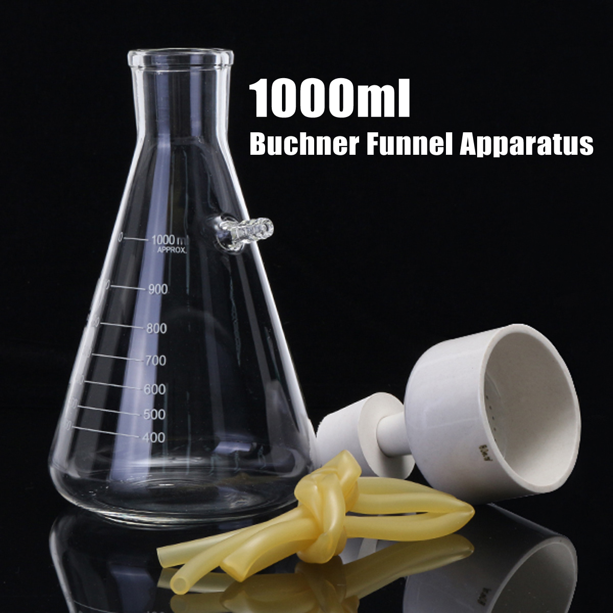 TN Lab Buchner Funnel Kit Filter Flask Set 80mm Funnel and a 1000ml 1L Vacuum Flask