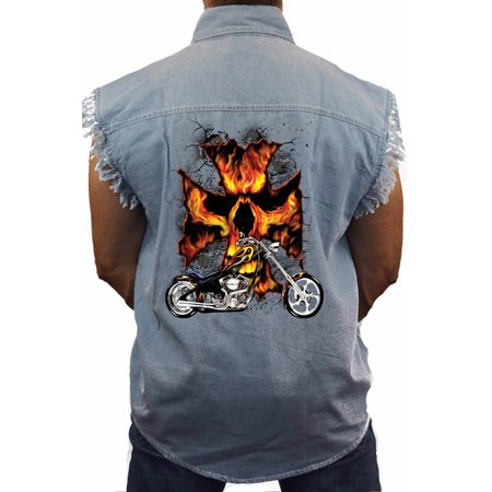 Skull Sleeveless Denim (Men's Sleeveless Denim Shirt Motorcycle Flames Skull Cross)