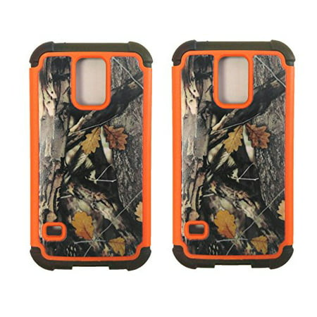 Set of 2 Black Duck Brand Samsung S V Camo Cell Phone Cases with Double Layer (Best Duck Calls Under 100)