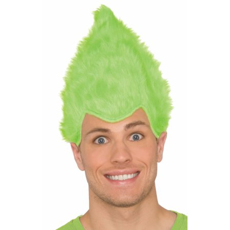 Green Adult Fuzzy Wig - Short Green Wig