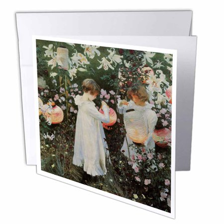 3dRose Carnation, Lily , Lily, Rose by John Singer Sargent Little Girls in a Garden , Greeting Cards, 6 x 6 inches, set of